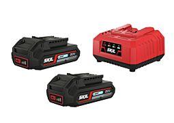 """SKIL Akkumulátorok (""""20V Max"""" (18 V) 2,0 Ah """"Keep Cool™"""" Li-Ion) és töltő"""